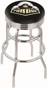 Purdue Ribbed Double-Ring Bar Stool