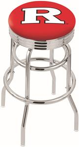 Rutgers University Ribbed Double-Ring Bar Stool