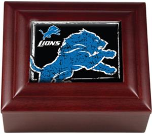 NFL Detroit Lions Mahogany Keepsake Box