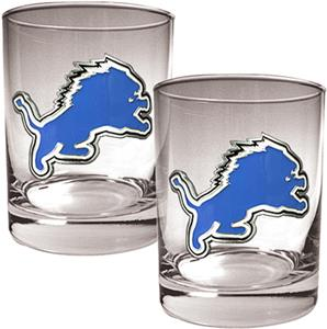 NFL Detroit Lions 2 piece Rocks Glass Set