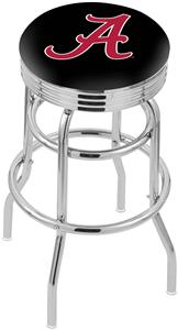 Univ Alabama Script A Ribbed Double-Ring Bar Stool