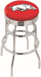 University Arkansas Ribbed Double-Ring Bar Stool