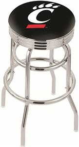 Univ Cincinnati Ribbed Double-Ring Bar Stool