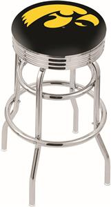 University of Iowa Ribbed Double-Ring Bar Stool