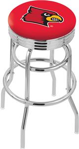 Univ of Louisville Ribbed Double-Ring Bar Stool