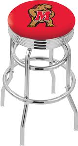 Univ of Maryland Ribbed Double-Ring Bar Stool