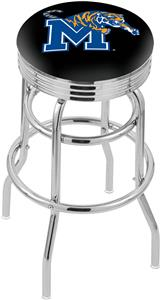 Univ of Memphis Ribbed Double-Ring Bar Stool