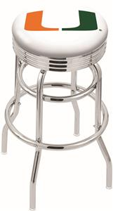 Univ of Miami (FL) Ribbed Double-Ring Bar Stool
