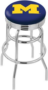 Univ of Michigan Ribbed Double-Ring Bar Stool