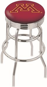 Univ of Minnesota Ribbed Double-Ring Bar Stool