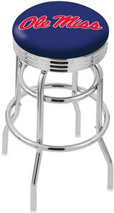 Univ of Mississippi Ribbed Double-Ring Bar Stool