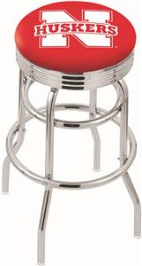Univ of Nebraska Ribbed Double-Ring Bar Stool