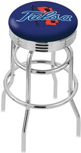 University of Tulsa Ribbed Double-Ring Bar Stool