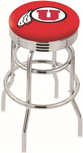 University of Utah Ribbed Double-Ring Bar Stool