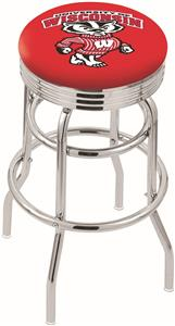 Univ Wisconsin Badger Ribbed Double-Ring Bar Stool