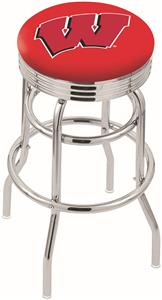 "Univ of Wisconsin ""W"" Ribbed Double-Ring Bar Stool"