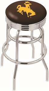 University of Wyoming Ribbed Double-Ring Bar Stool