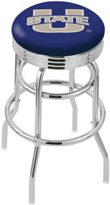 Utah State University Ribbed Double-Ring Bar Stool