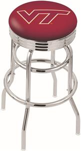 Virginia Tech Univ Ribbed Double-Ring Bar Stool
