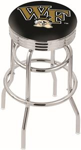 Wake Forest Univ Ribbed Double-Ring Bar Stool