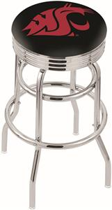 Washington State Univ Ribbed Double-Ring Bar Stool