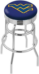 West Virginia Univ Ribbed Double-Ring Bar Stool