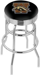 Western Michigan Univ Ribbed Double-Ring Bar Stool