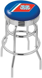 U.S. Coast Guard Ribbed Double-Ring Bar Stool