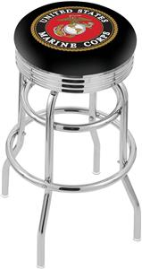 U.S. Marine Corps Ribbed Double-Ring Bar Stool