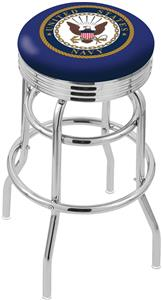 United States Navy Ribbed Double-Ring Bar Stool