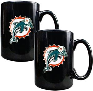 NFL Miami Dolphins Black Ceramic Mug (Set of 2)