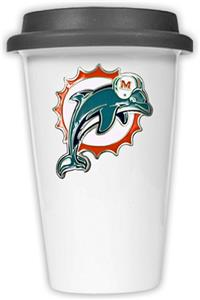 NFL Miami Dolphins Ceramic Cup with Black Lid
