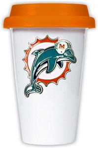 NFL Miami Dolphins Ceramic Cup with Orange Lid