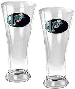 NFL Miami Dolphins 2 Piece Pilsner Glass Set