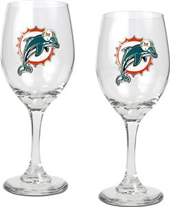 NFL Miami Dolphins 2 Piece Wine Glass Set