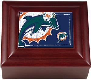 NFL Miami Dolphins Mahogany Keepsake Box