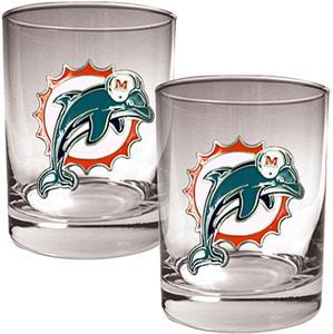 NFL Miami Dolphins 14oz 2 piece Rocks Glass Set