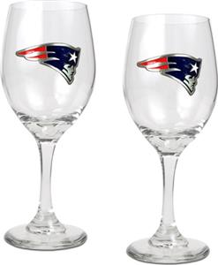 NFL Patriots 2 Piece Wine Glass Set