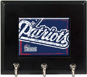 NFL Patriots Wood Keyhook Rack