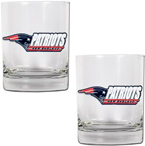 NFL Patriots 2 piece Rocks Glass Set