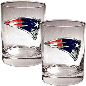 NFL Patriots 14oz 2 piece Rocks Glass Set
