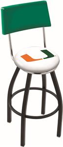 University of Miami FL Swivel Back Bar Stool