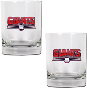 NFL New York Giants 2 piece Rocks Glass Set