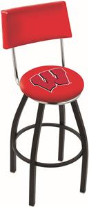 "Univ of Wisconsin ""W"" Swivel Back Bar Stool"