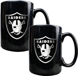 NFL Oakland Raiders Black Ceramic Mug (Set of 2)
