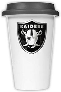 NFL Oakland Raiders Ceramic Cup with Black Lid