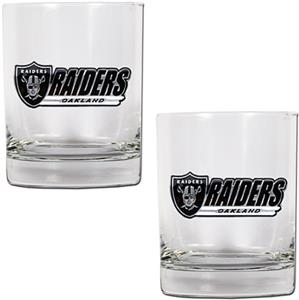 NFL Oakland Raiders 2 piece Rocks Glass Set