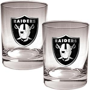 NFL Oakland Raiders 14oz 2 piece Rocks Glass Set