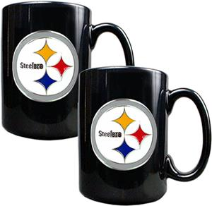 NFL Pittsburgh Steelers Black Ceramic Mug Set of 2