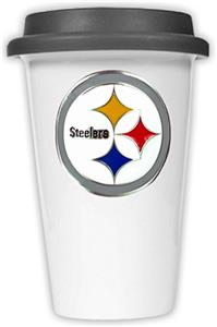NFL Pittsburgh Steelers Ceramic Cup with Black Lid